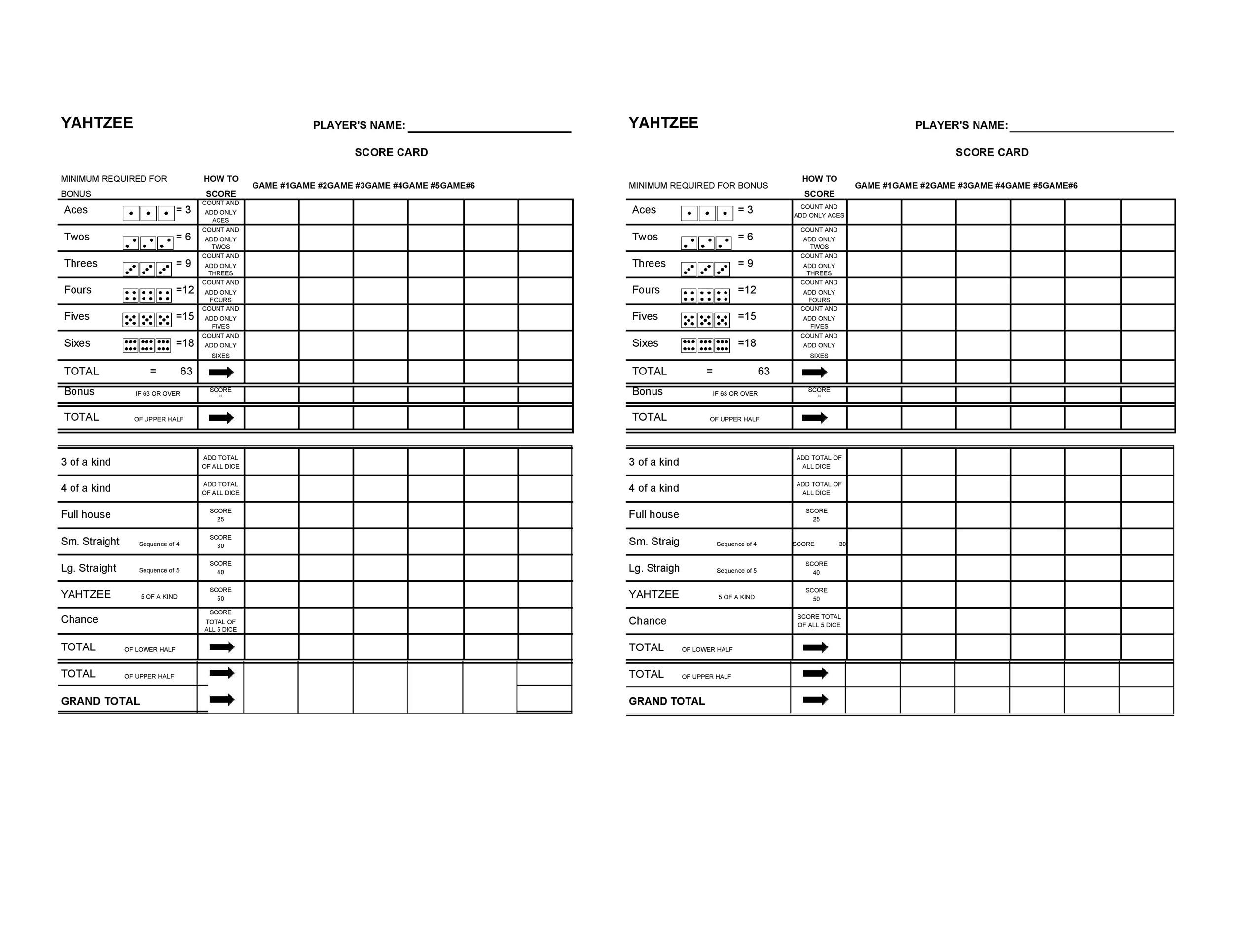 image regarding Printable Yahtzee Score Sheet identified as yahtzee rating card pdf