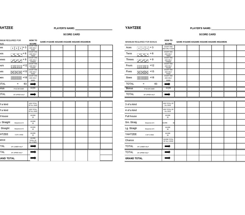Yahtzee Score Card Pdf Amtletter Co