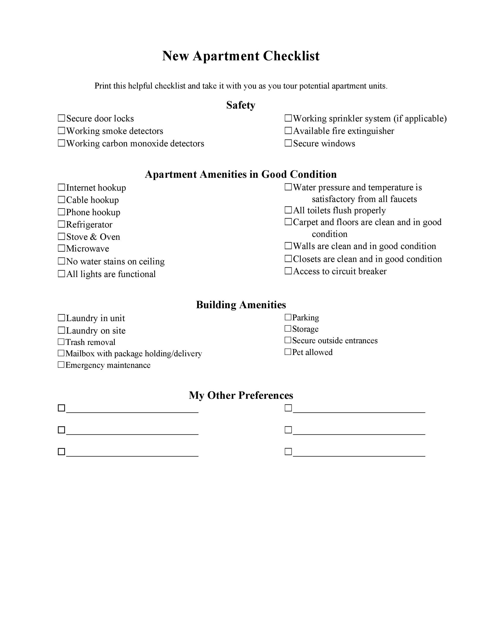 First New Apartment Checklist