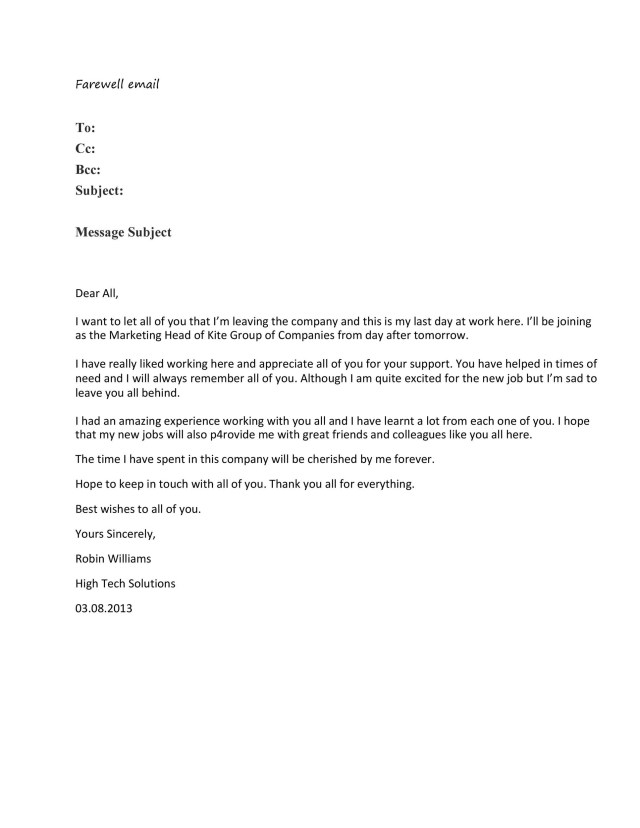 Writing Company Farewell Email. 10 Sample Farewell Messages for