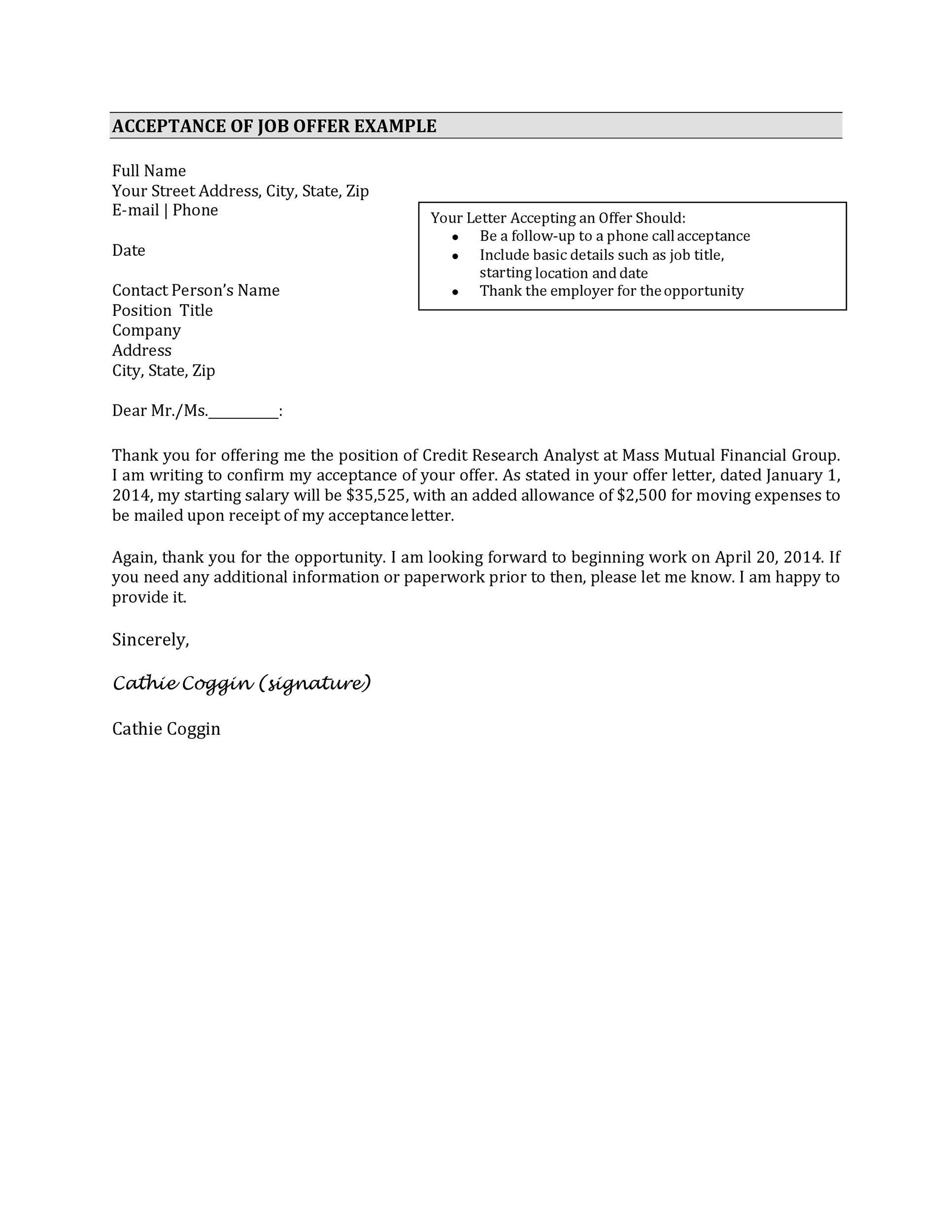 How To Write A Job Offer Acceptance Letter lvcrelegantcom