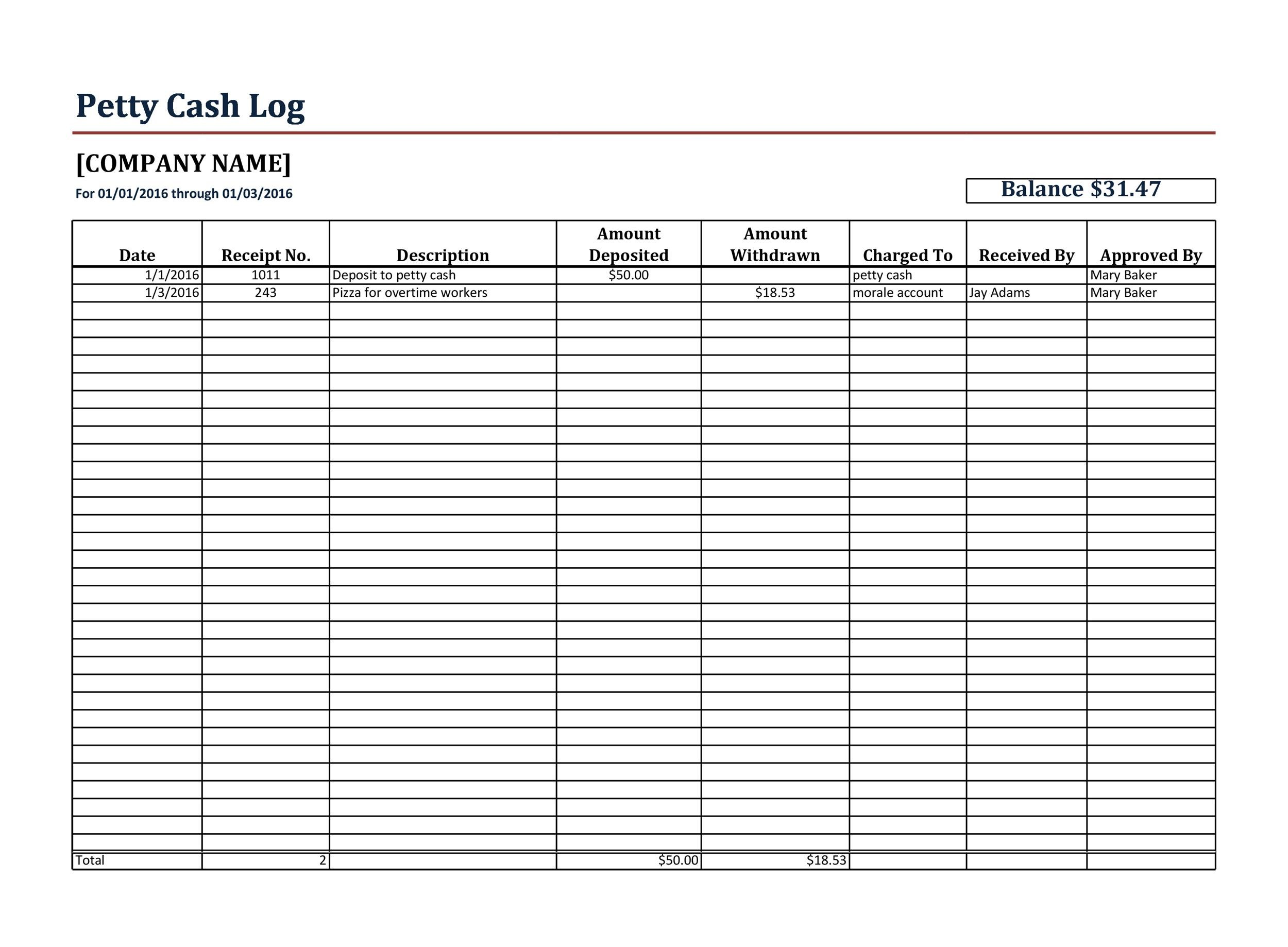 40 Petty Cash Log Templates Amp Forms Excel Word