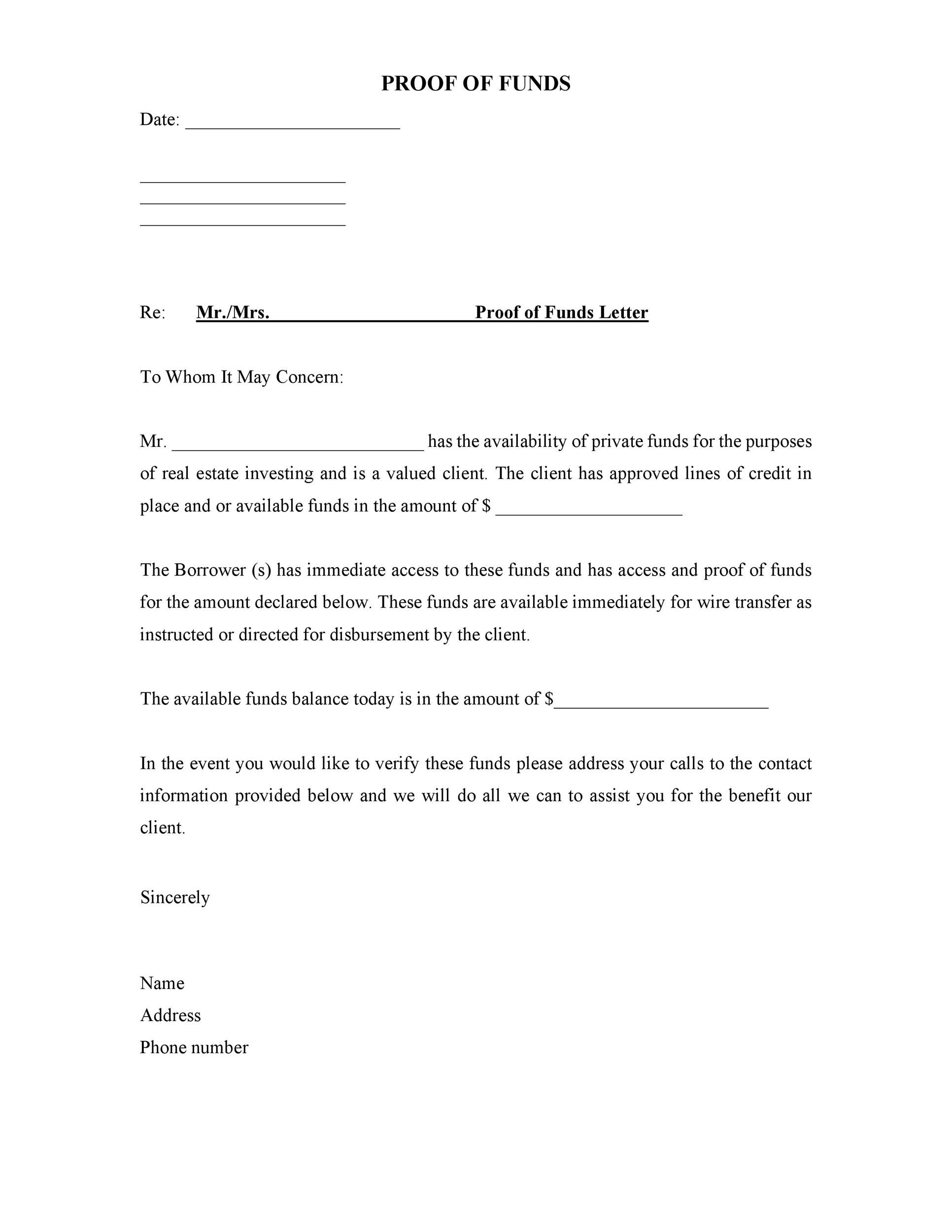 25 Best Proof Of Funds Letter Templates Templatelab