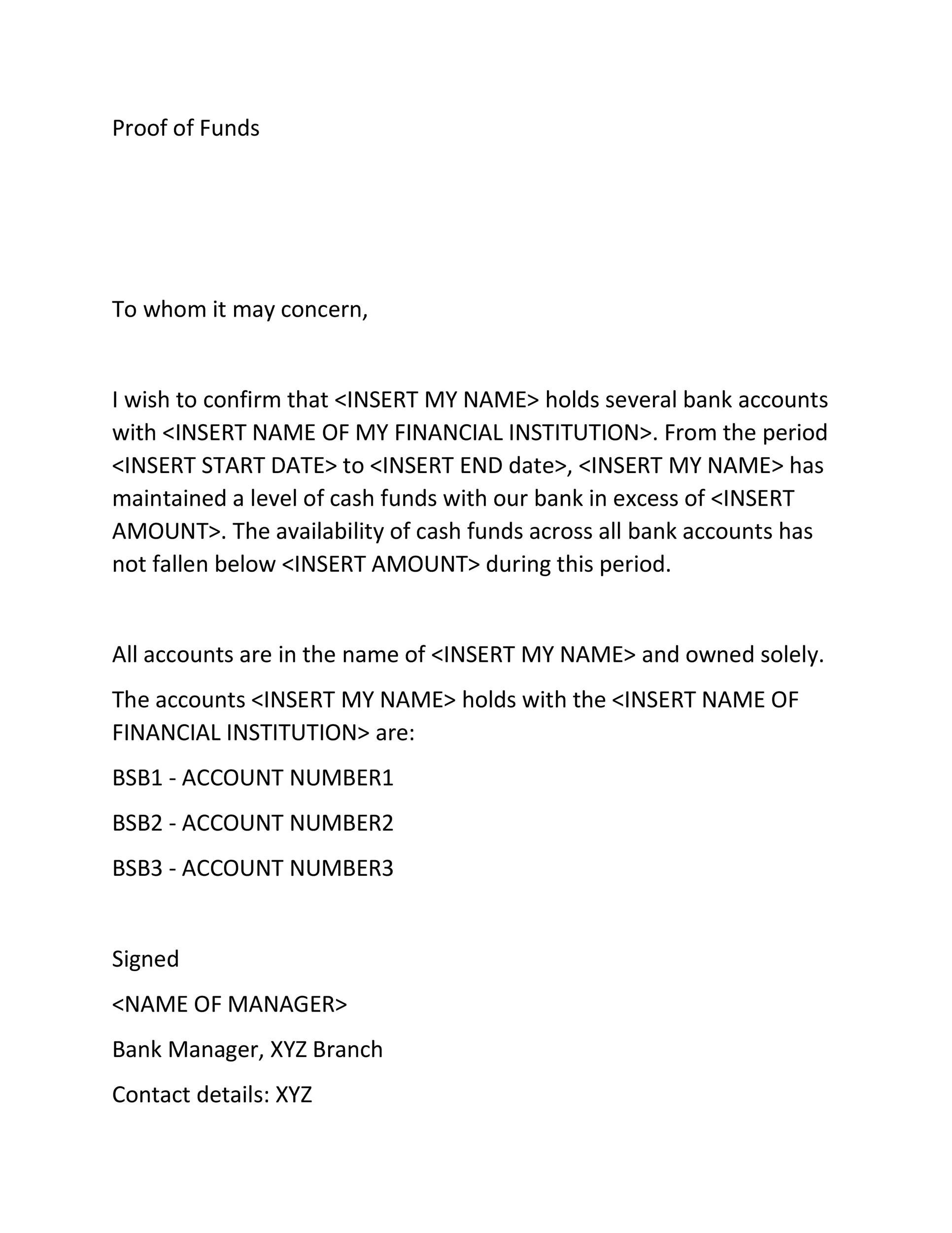 25 Best Proof Of Funds Letter Templates