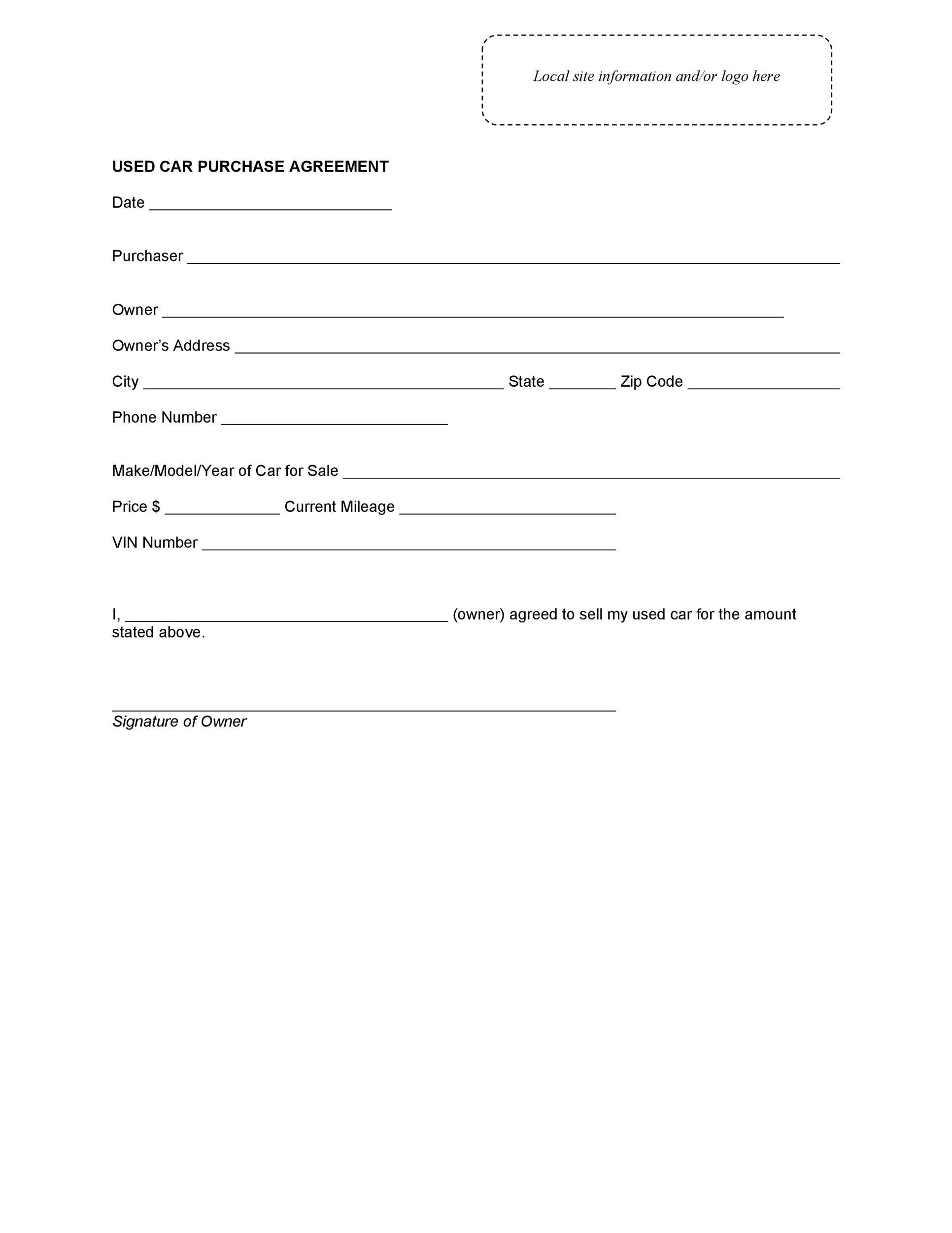Printable Used Car Sales Agreement Tutore