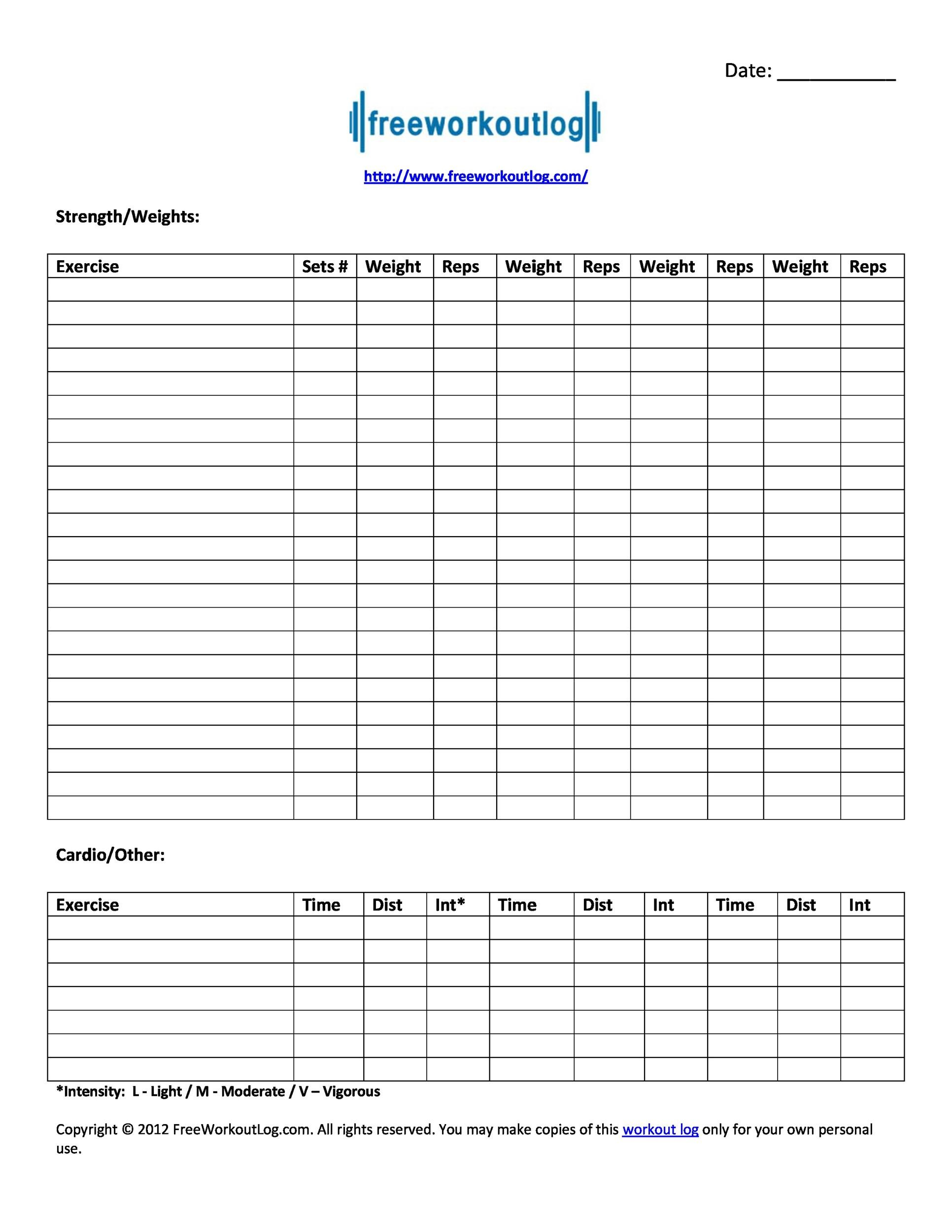 40 Effective Workout Log Amp Calendar Templates