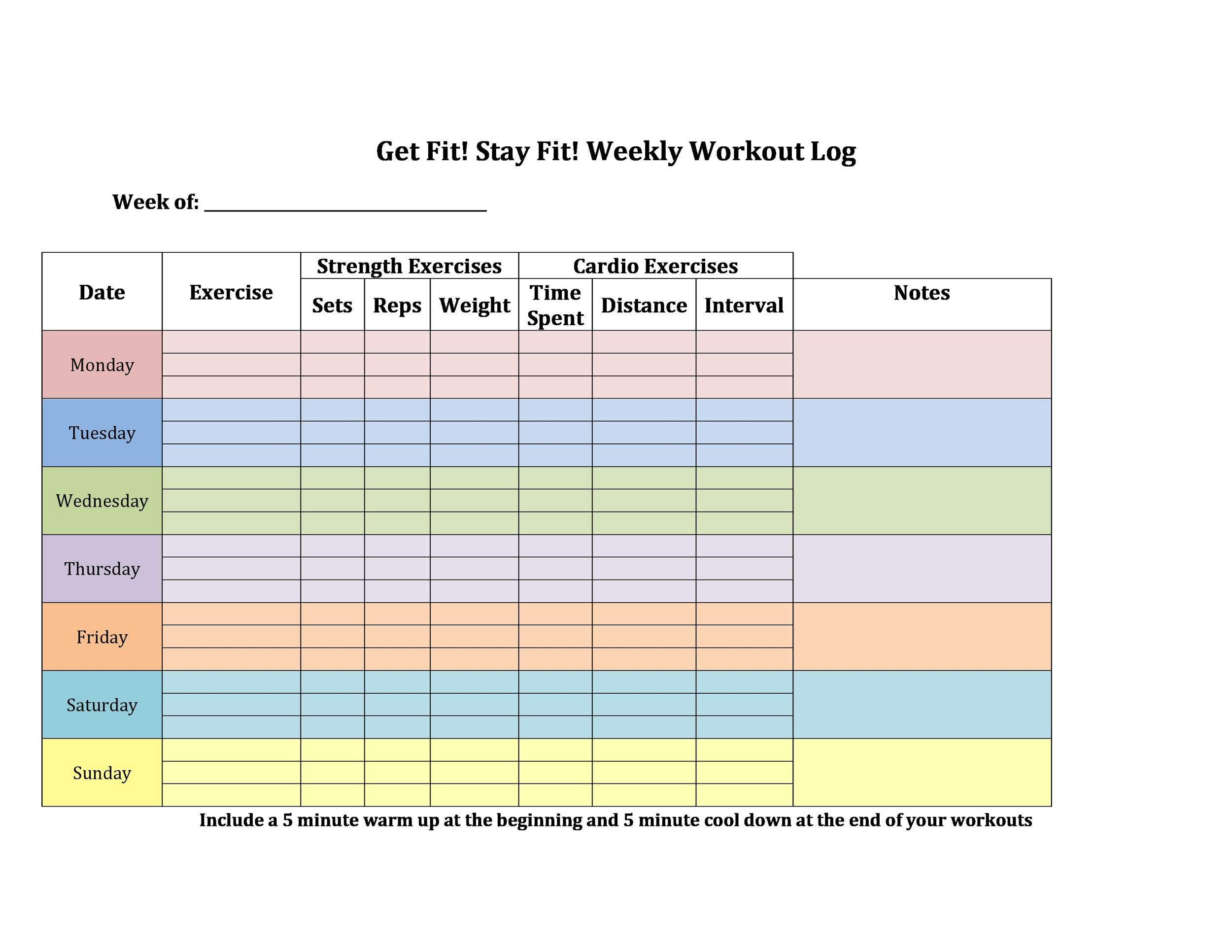 Fitness Plan Template Weekly