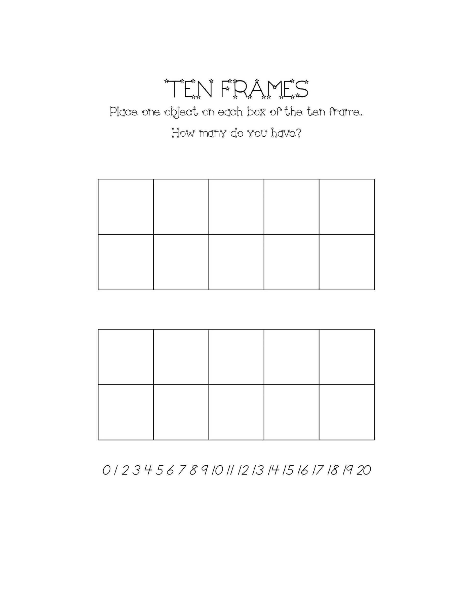 36 Printable Ten Frame Templates Free Templatelab