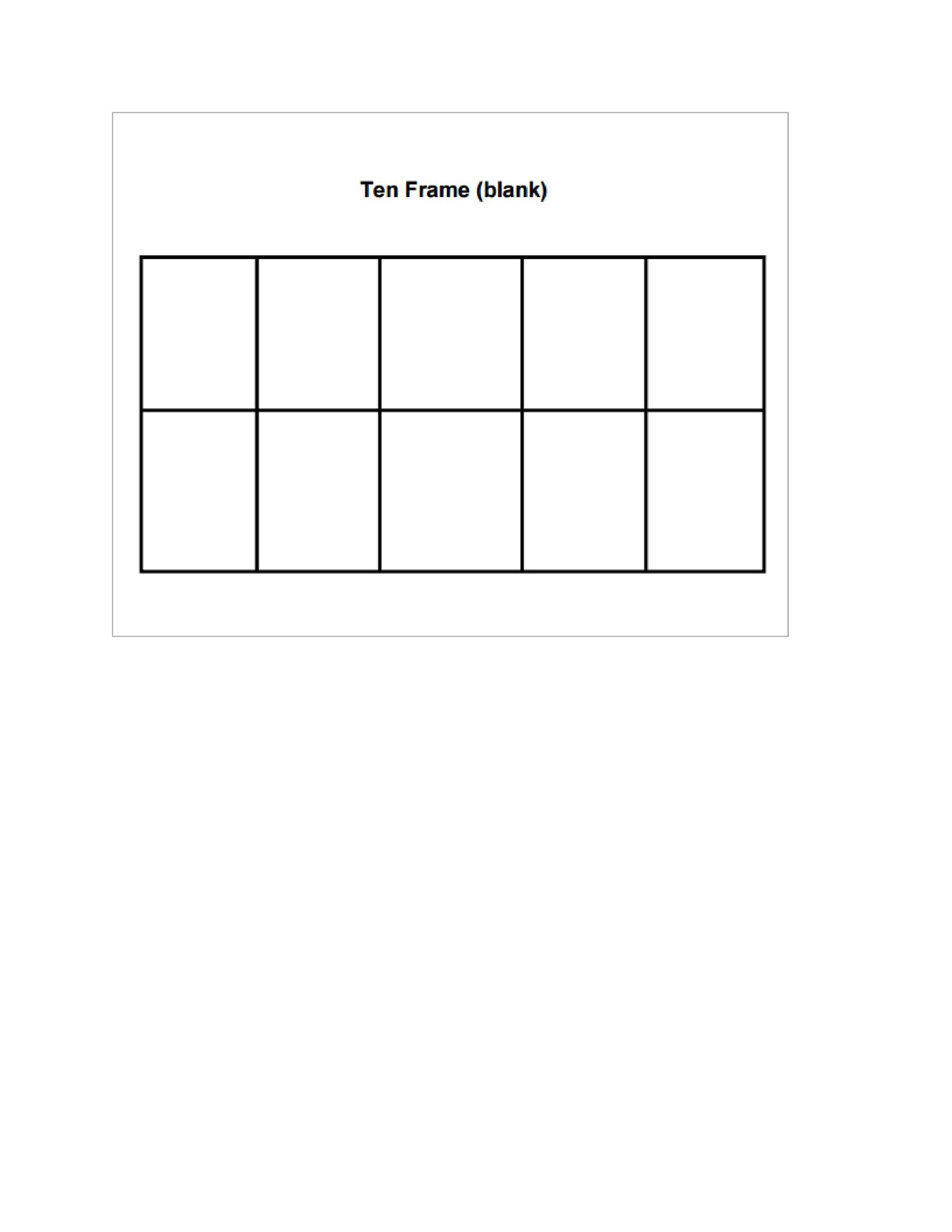 Ten Frame Template For Kindergarten