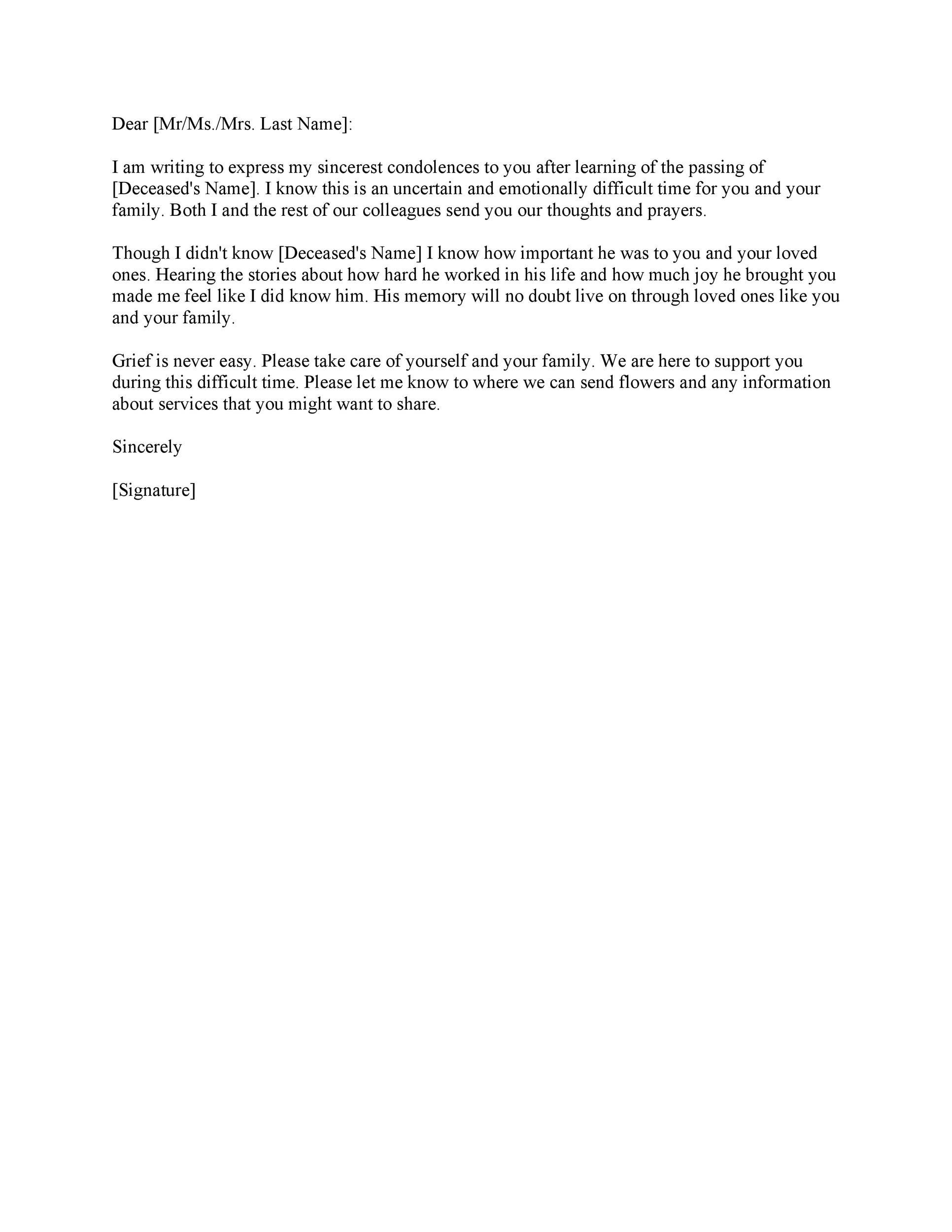 Condolence Letter Sample For Colleague