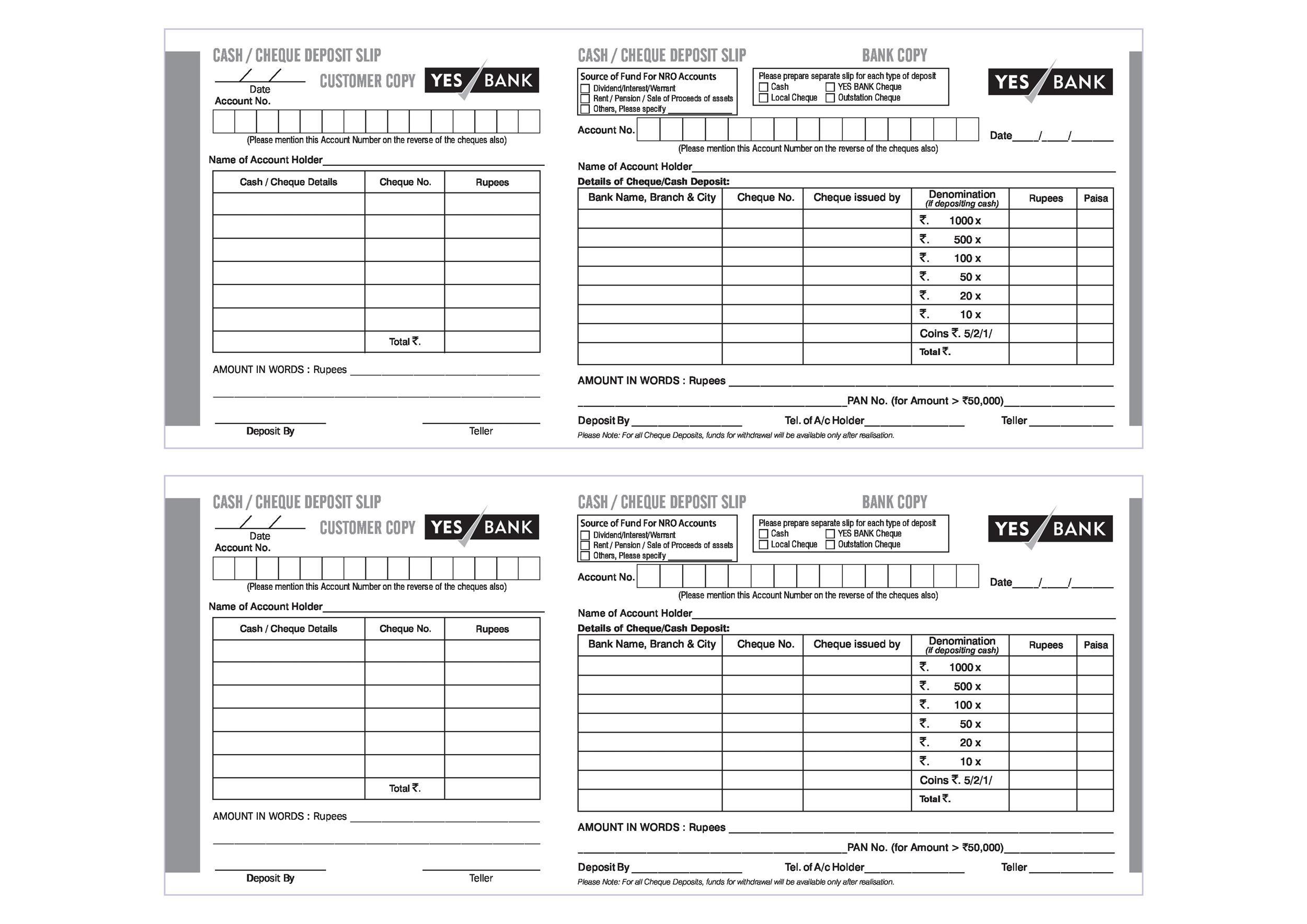 Deposit Withdrawal And Worksheet