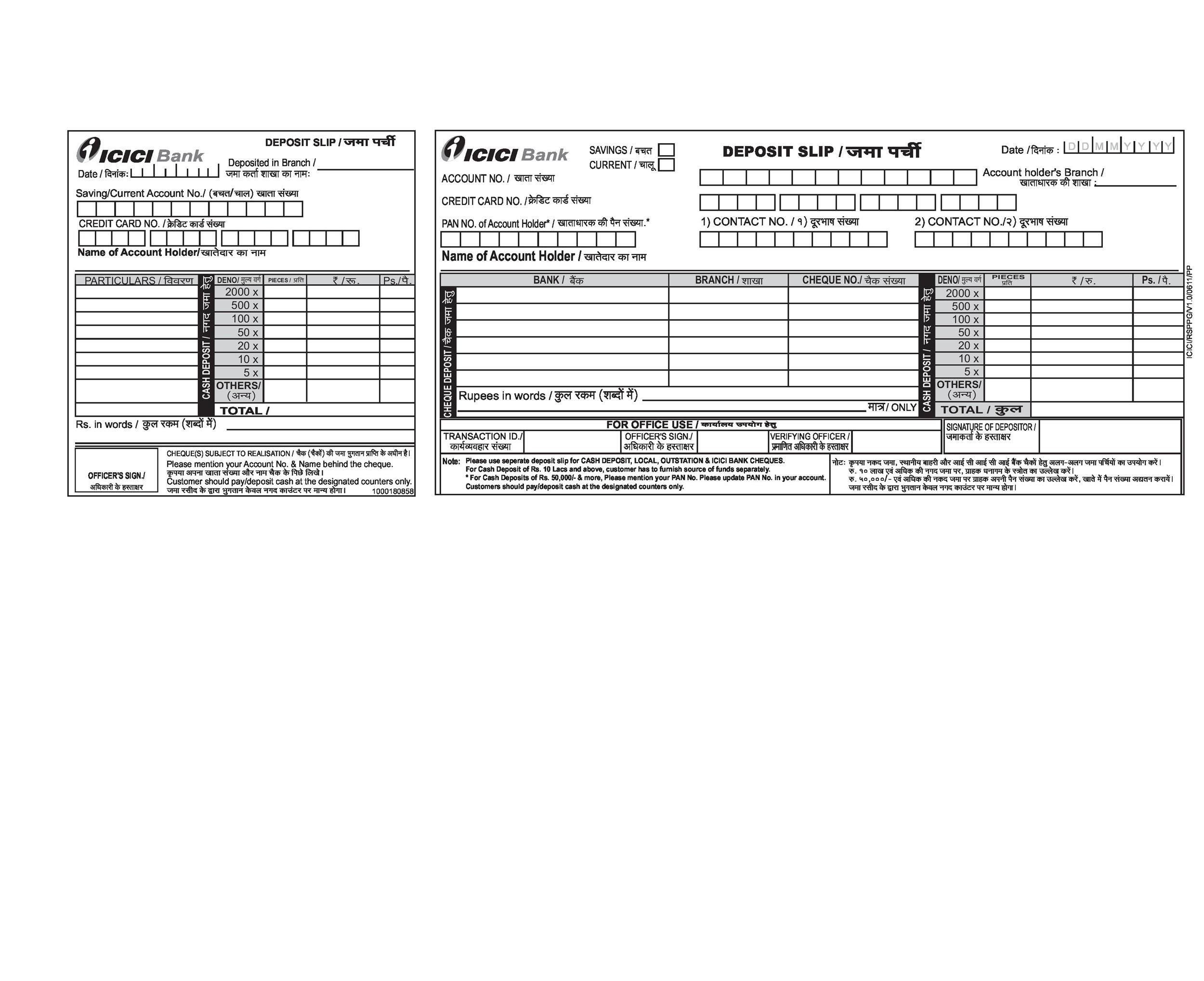 Sample Excel Templates Cheque Deposit Slip In Excel