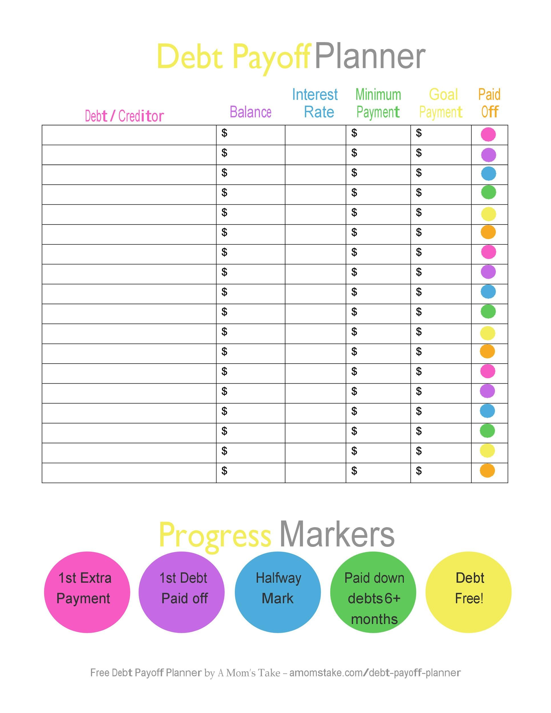 Clever Debt Tracker Printable