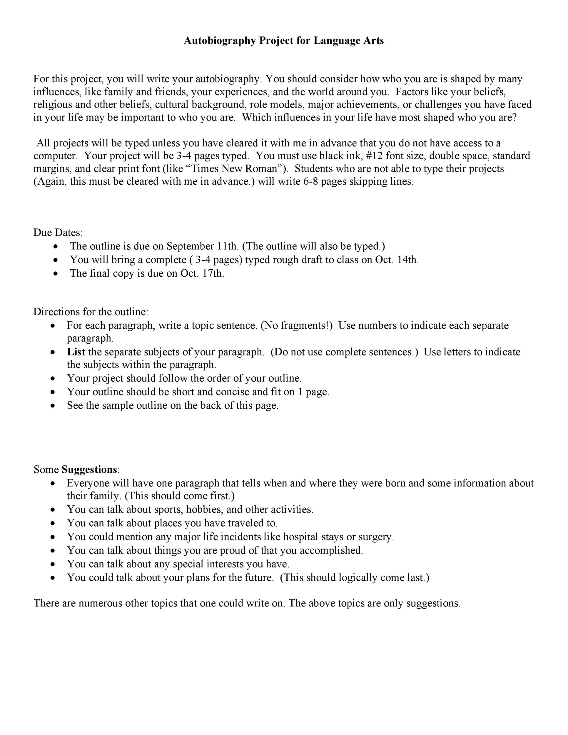 Printable Autobiography Template Biography Book Report