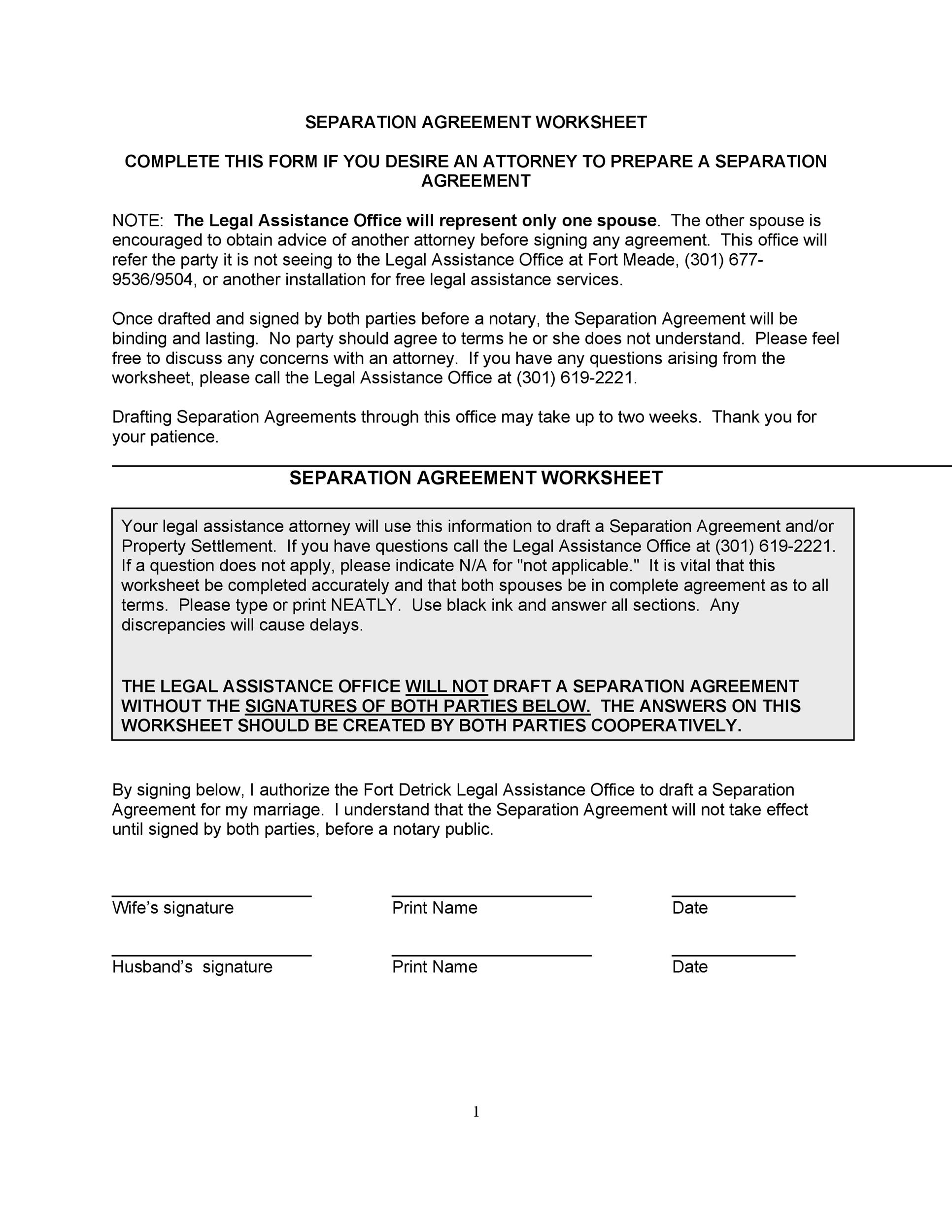 43 Official Separation Agreement Templates Letters