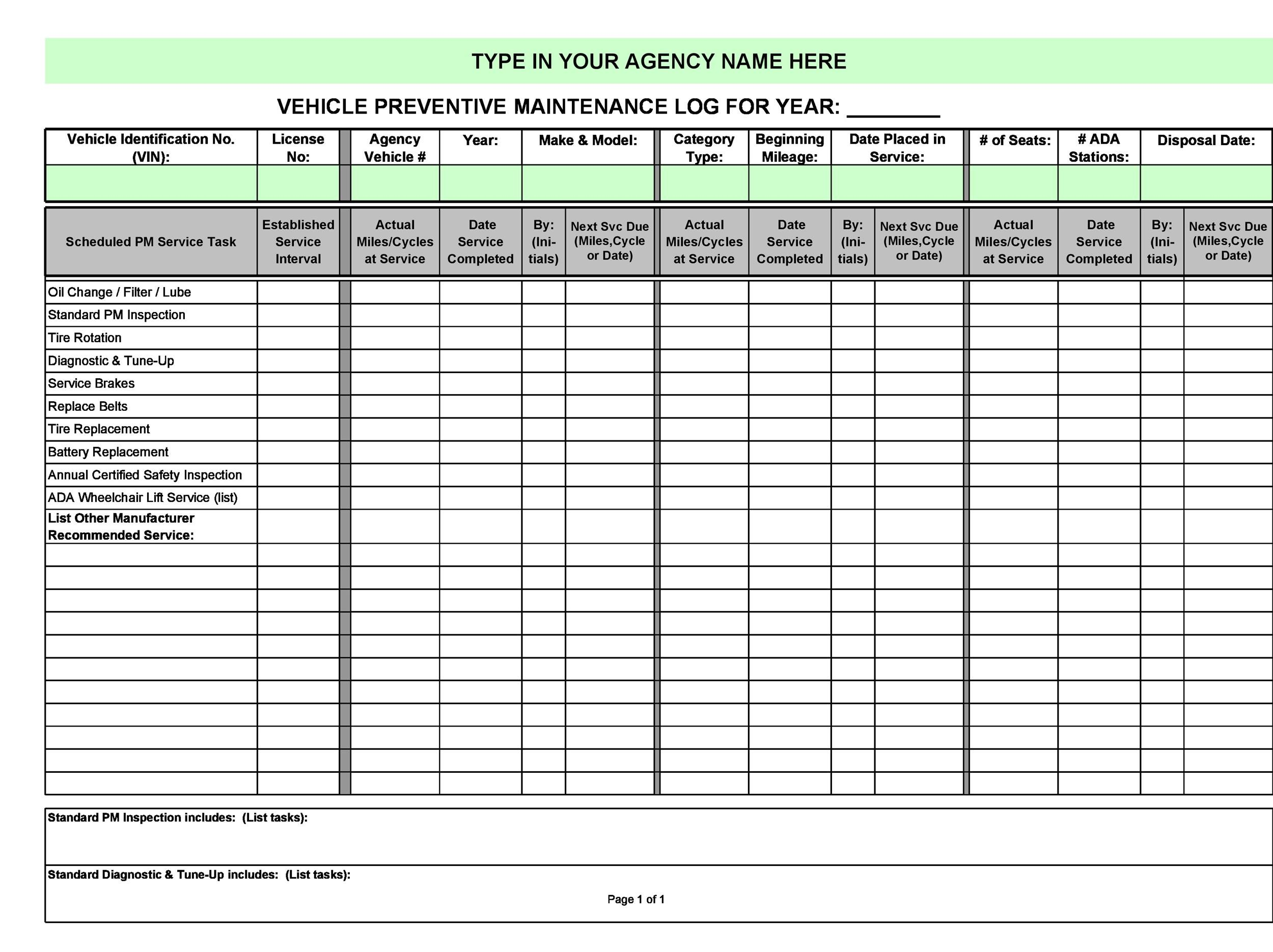 Painting Maintenance Worksheet Template