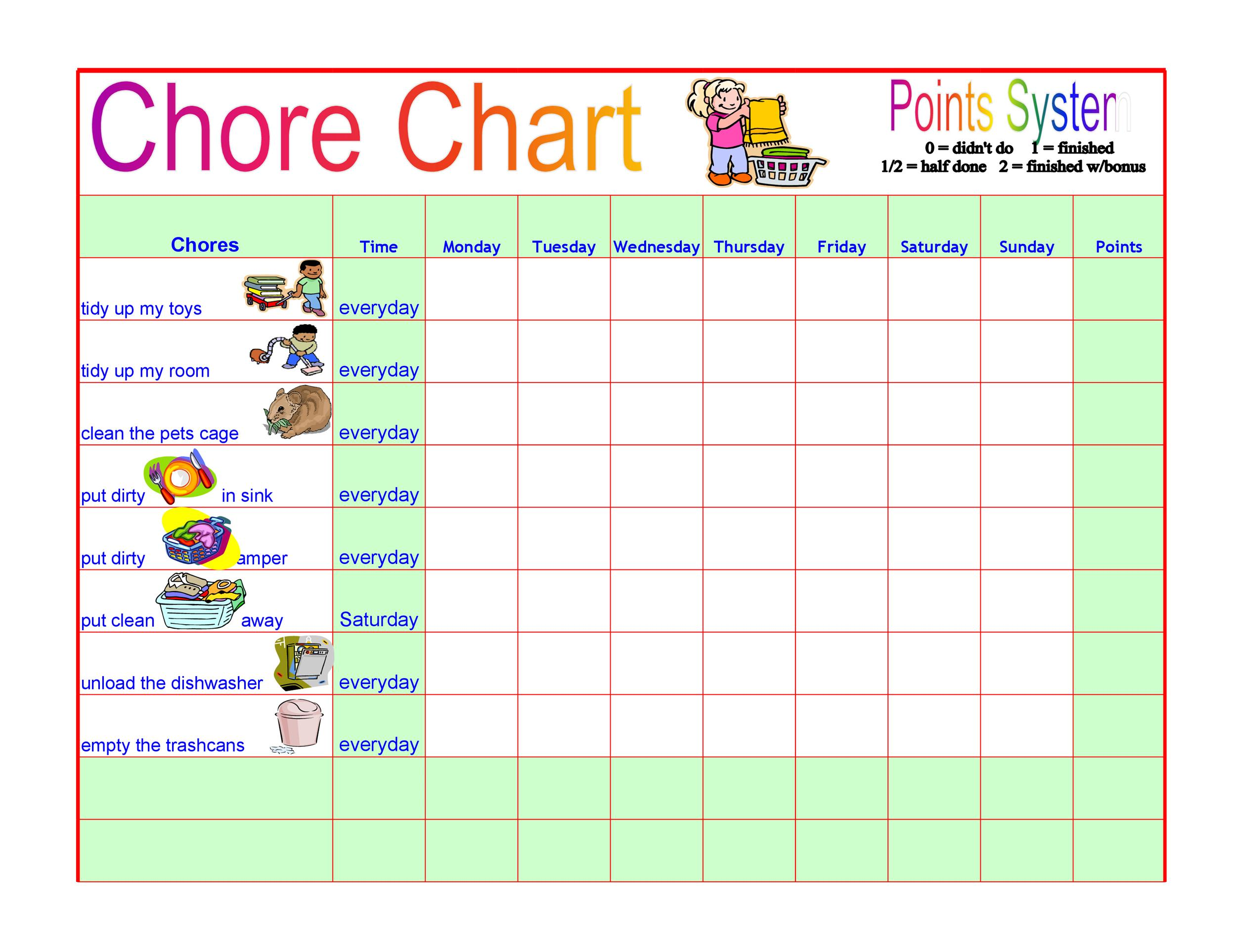 Slashcasual Chore Chart Template For Kids