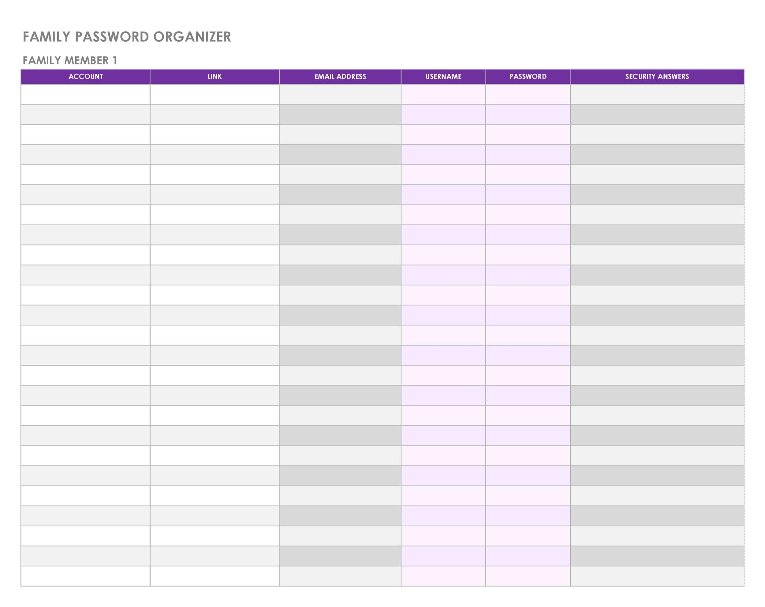39 Best Password List Templates Word Excel Amp