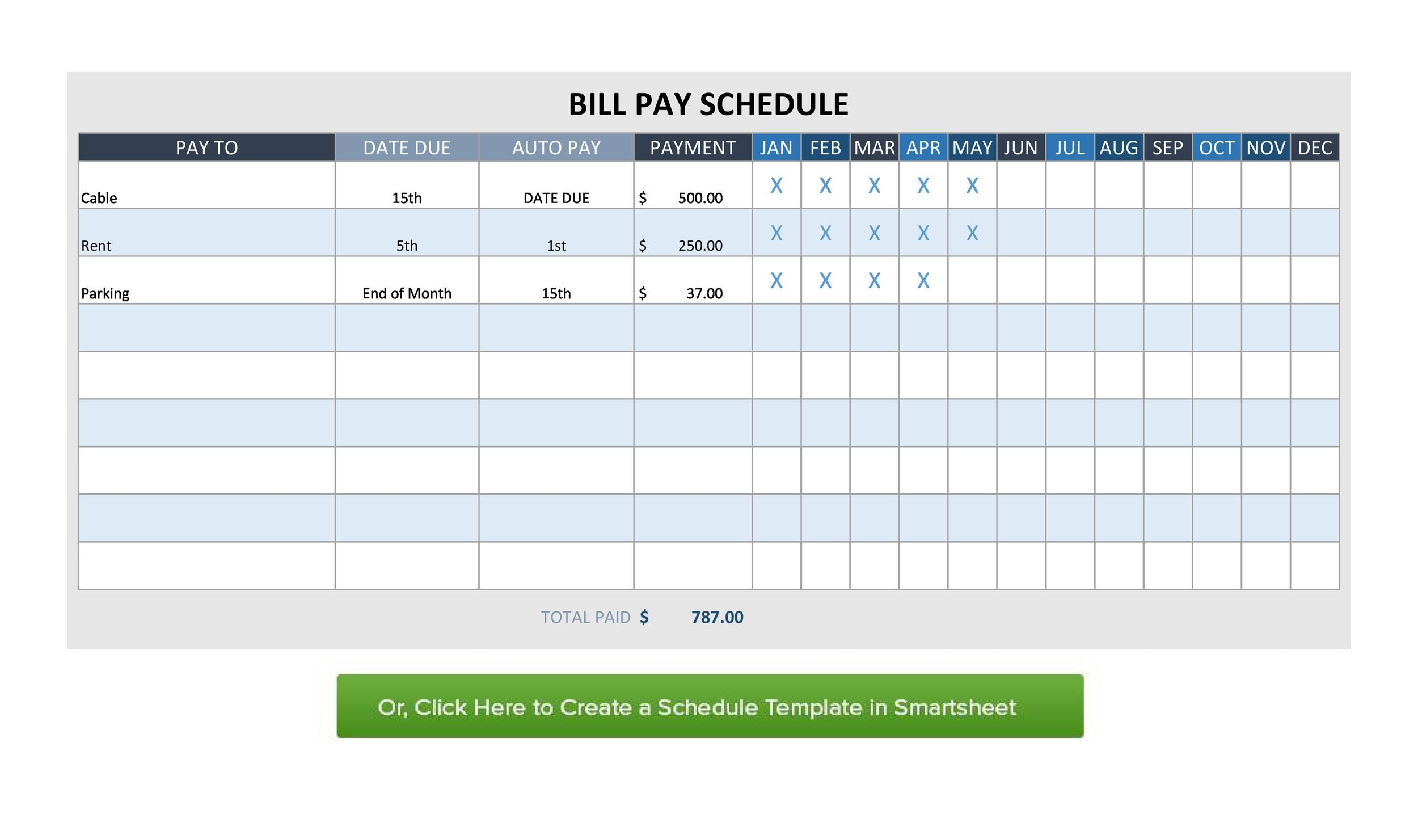 33 Free Bill Pay Checklists Amp Bill Calendars Word
