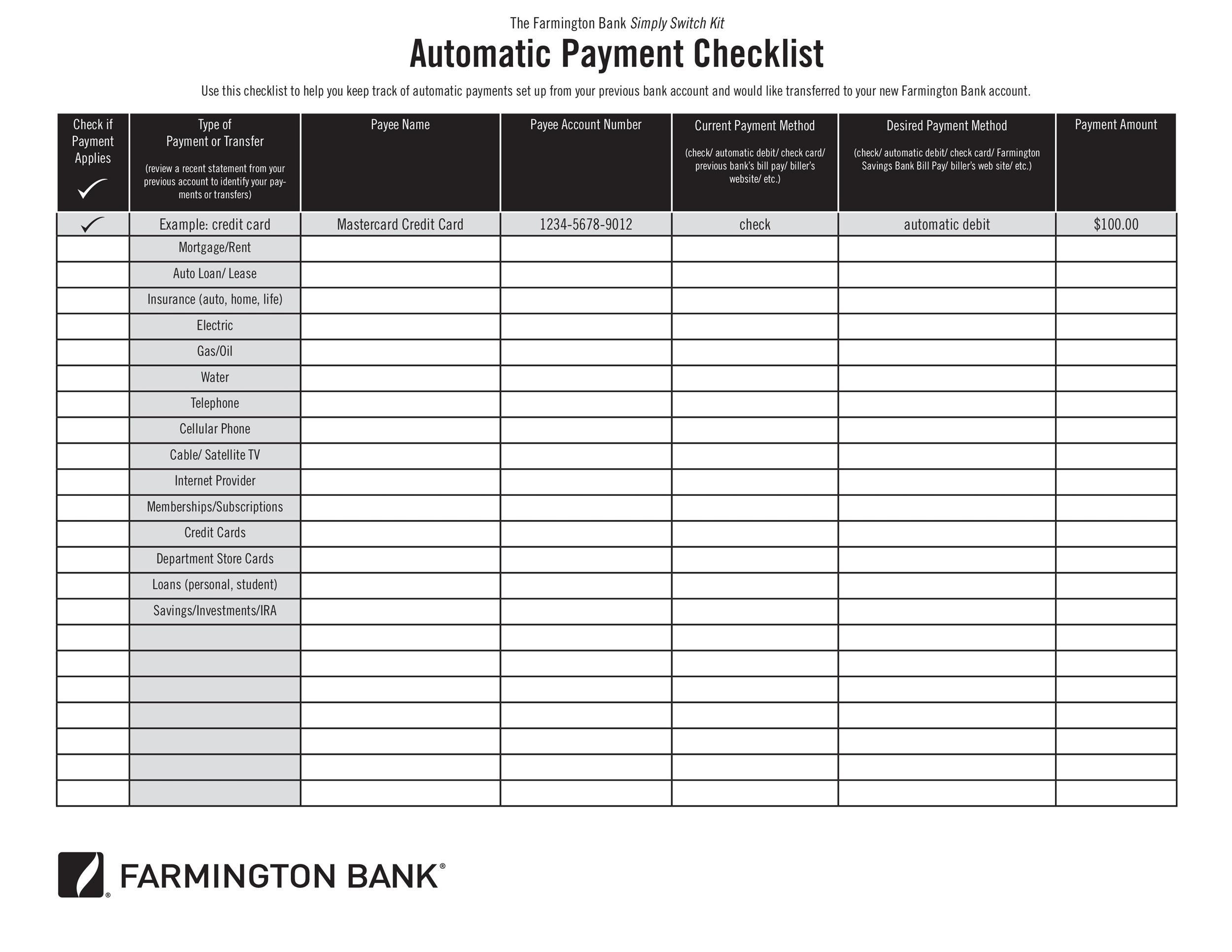 33 Free Bill Pay Checklists Amp Bill Calendars Word