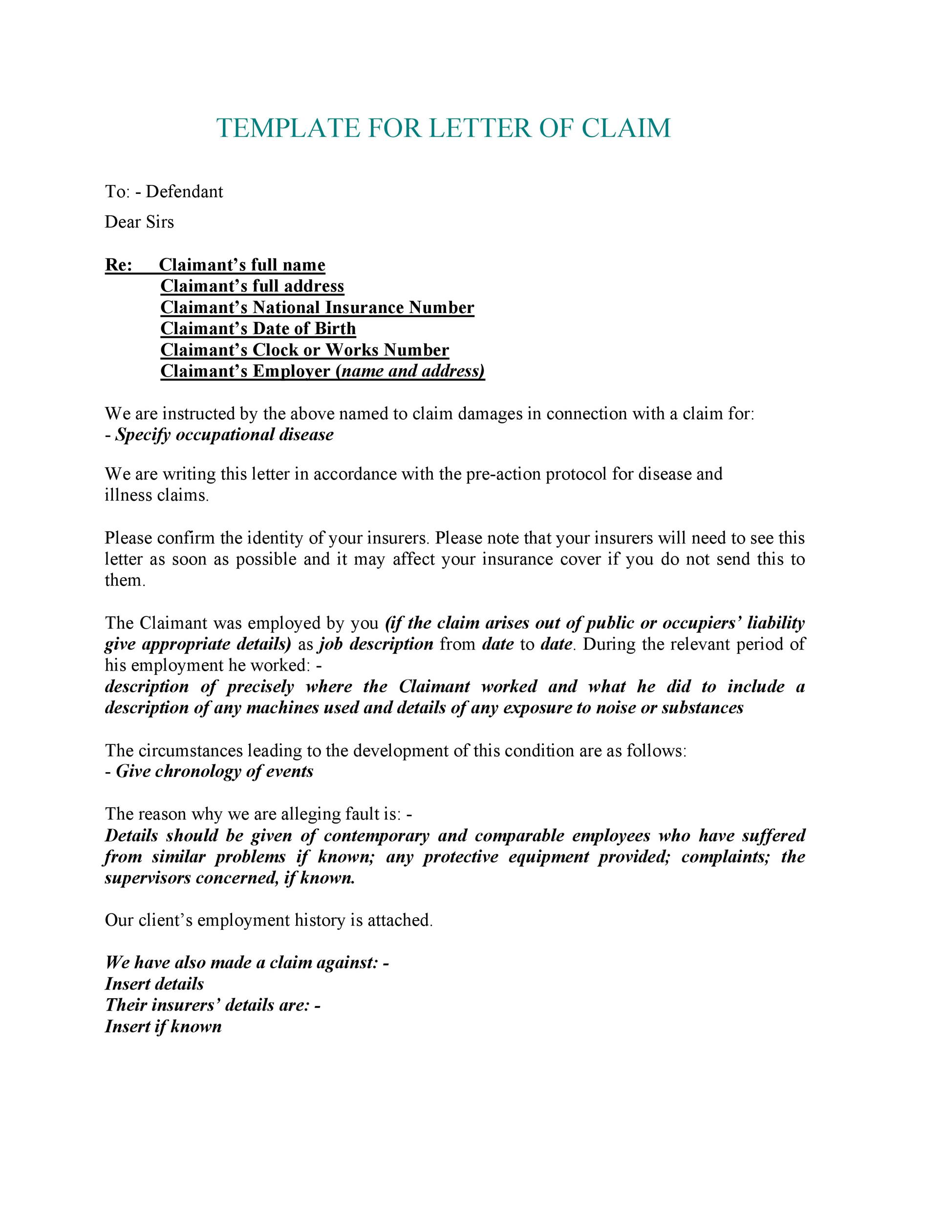 49 Free Claim Letter Examples