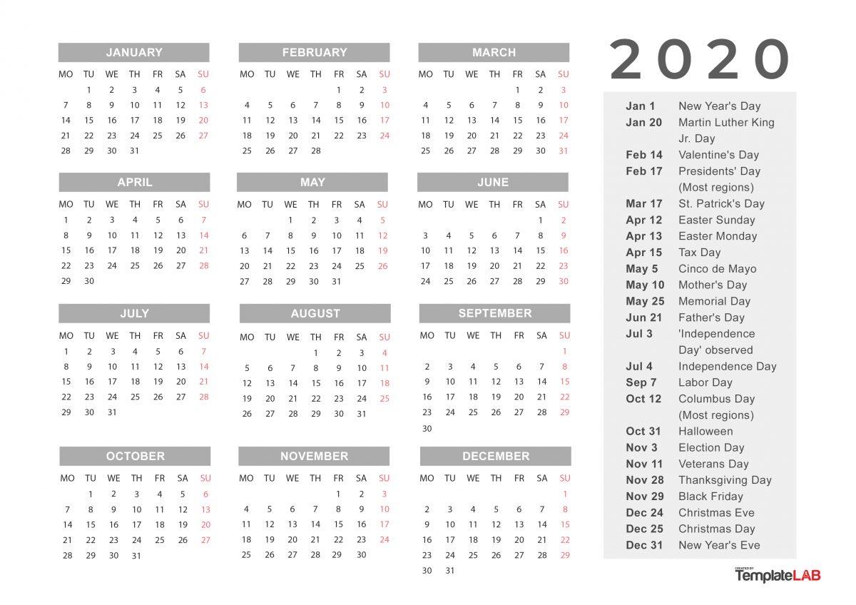Calendar With Holidays Printable
