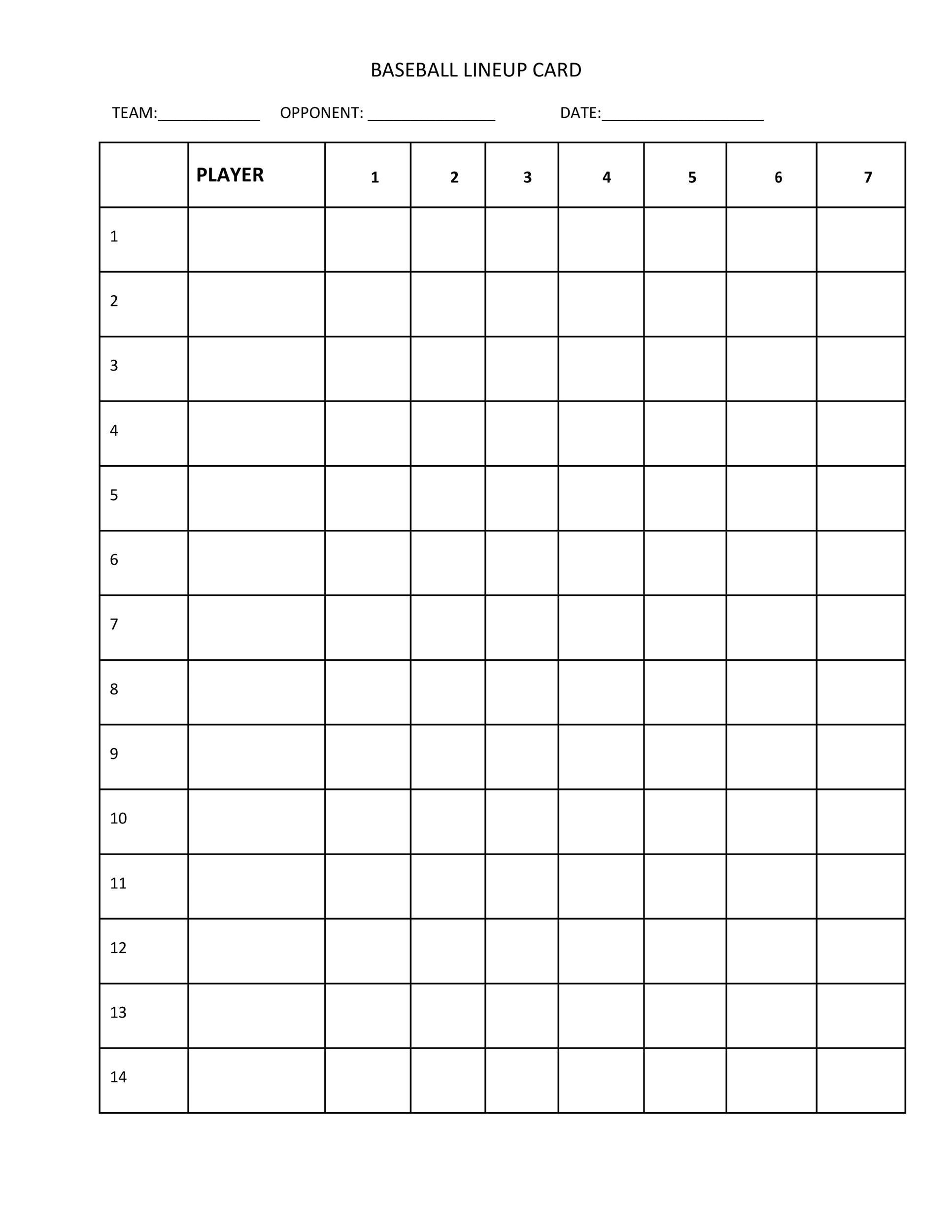 Effortless Free Printable Baseball Lineup Cards