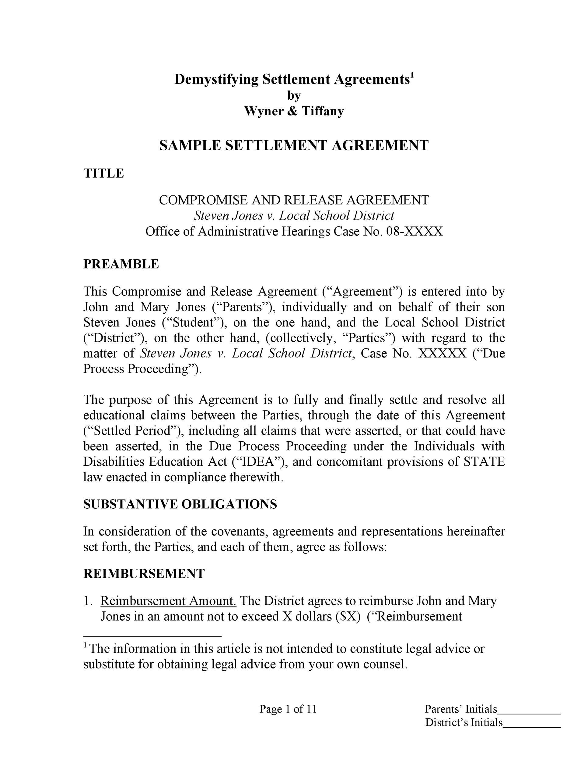 Wrongful Termination Settlement Letter
