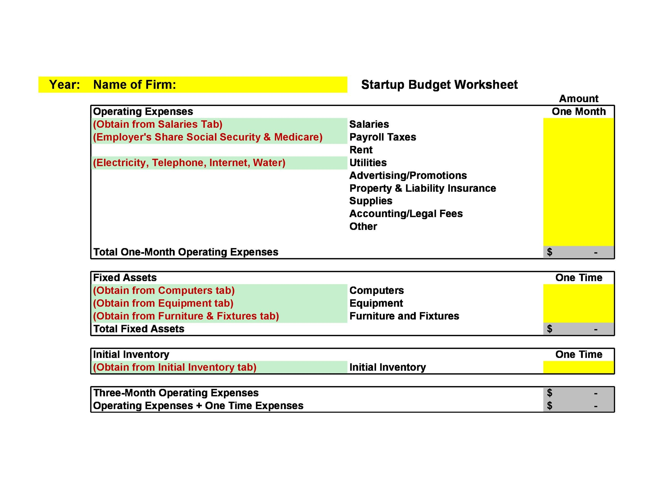 50 Best Startup Budget Templates Free Download Templatelab