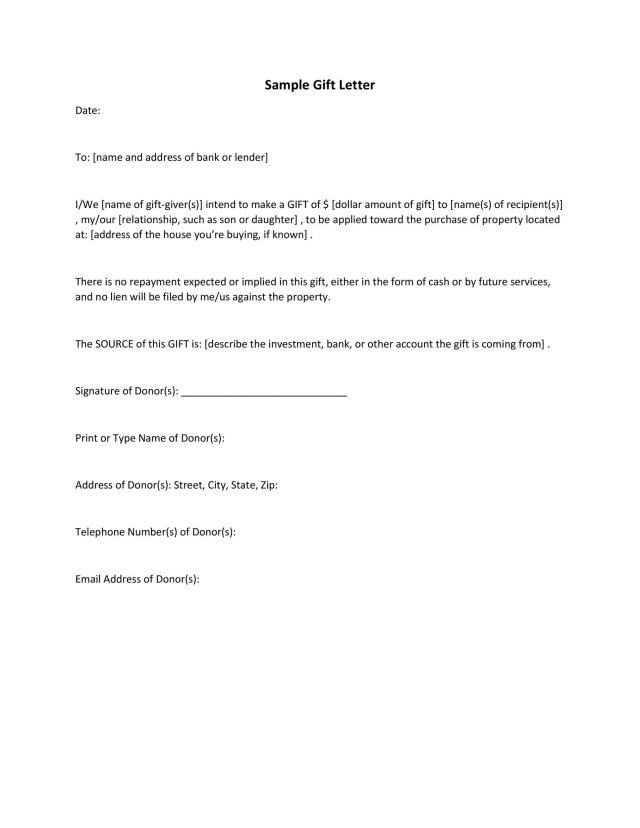 35 Best Gift Letter Templates Word