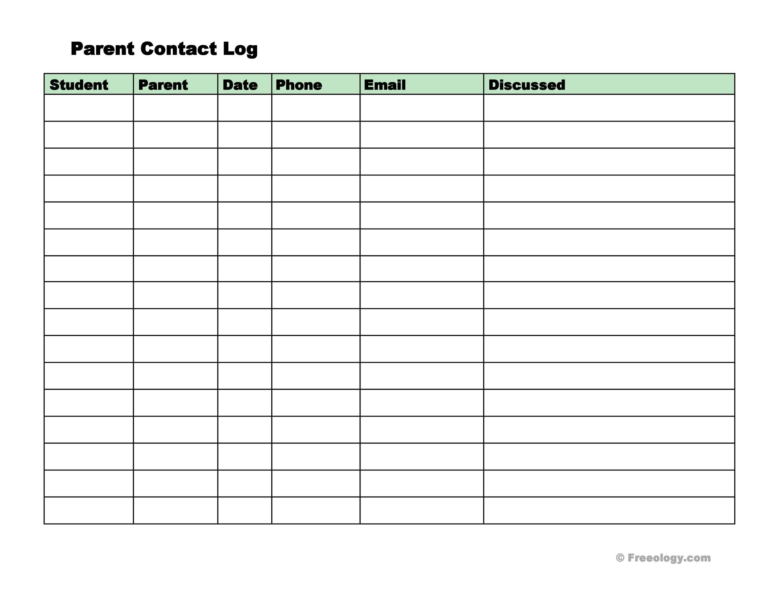 50 Editable Parent Contact Logs Doc Excel Amp
