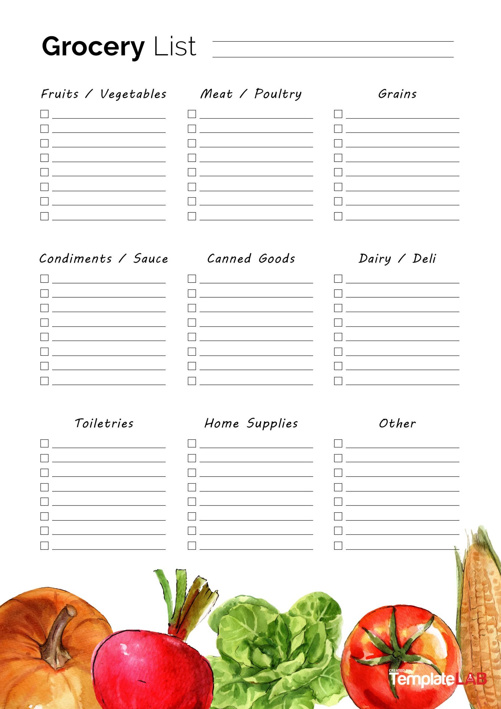 40 Printable Grocery List Templates Shopping List
