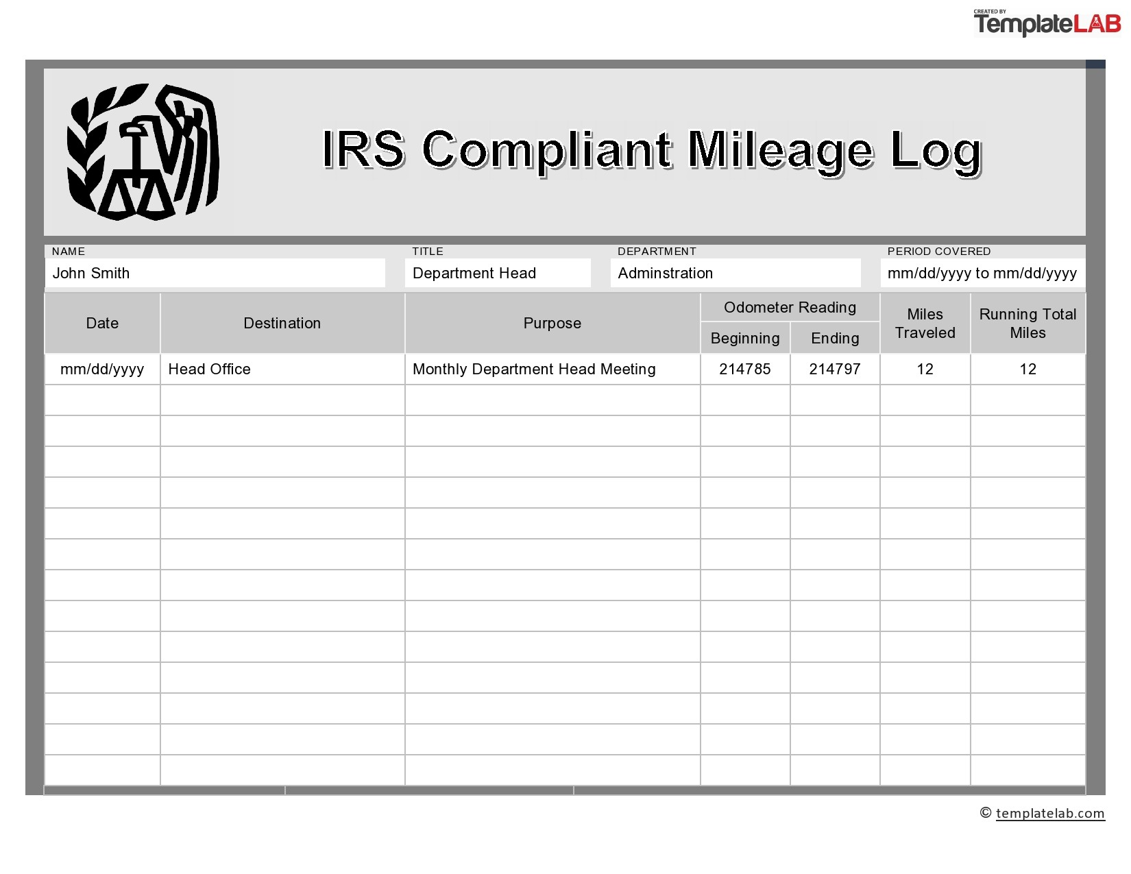 31 Printable Mileage Log Templates Free Templatelab