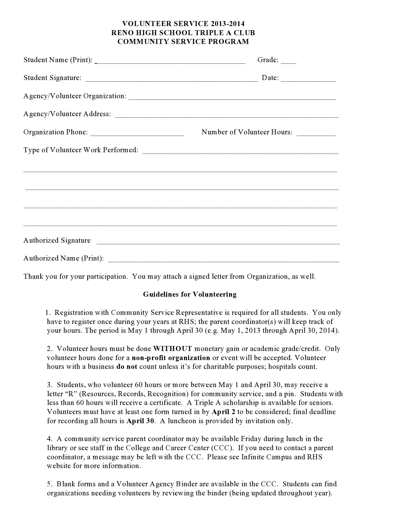 44 Printable Community Service Forms Ms Word Templatelab