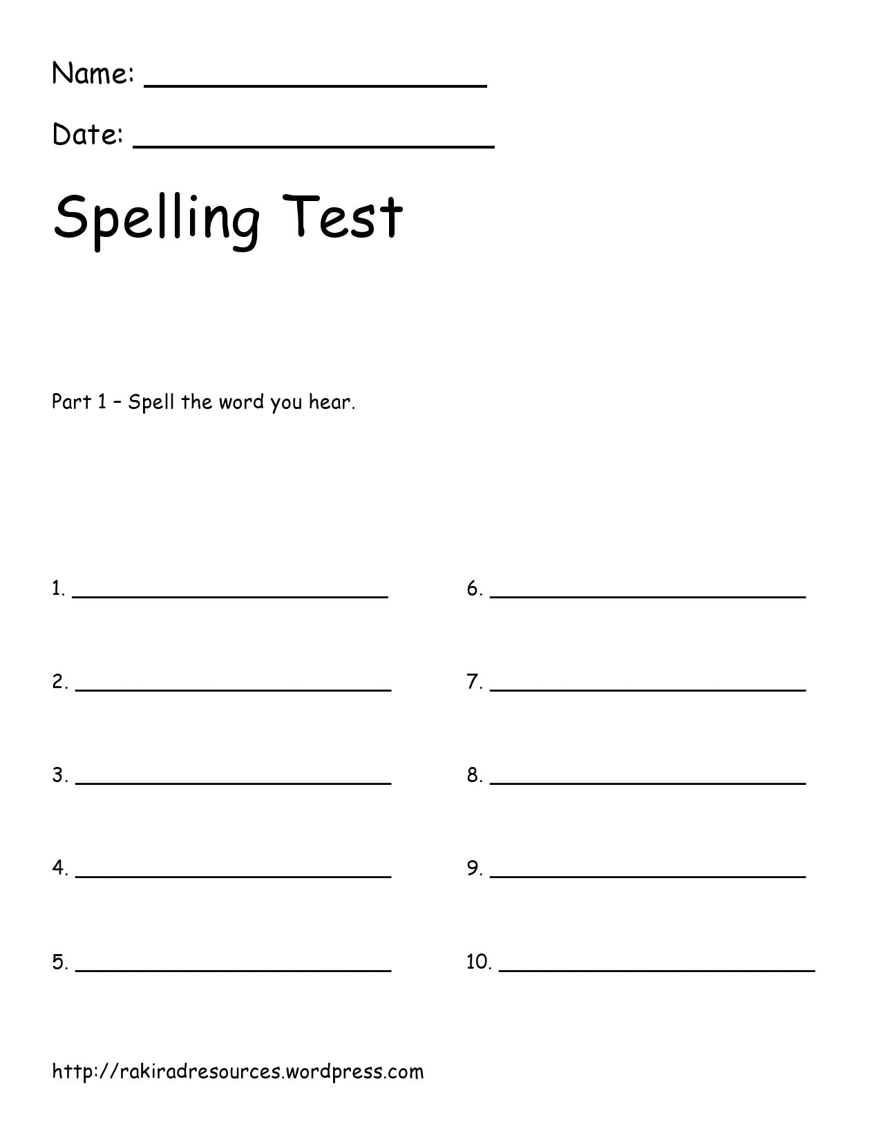 38 Printable Spelling Test Templates Word Amp