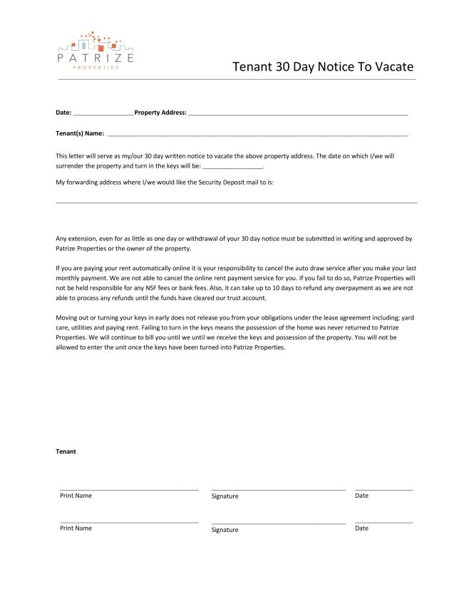 50 Free Notice To Vacate Templates 30