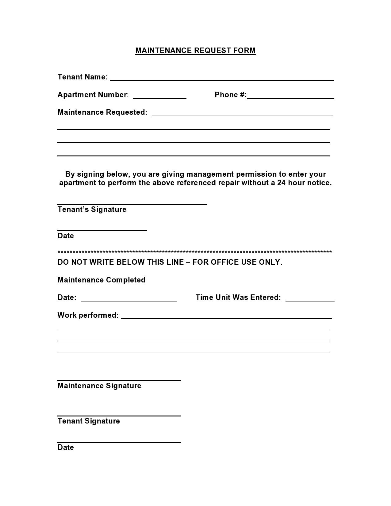 54 Maintenance Request Form Templates Free Templatelab