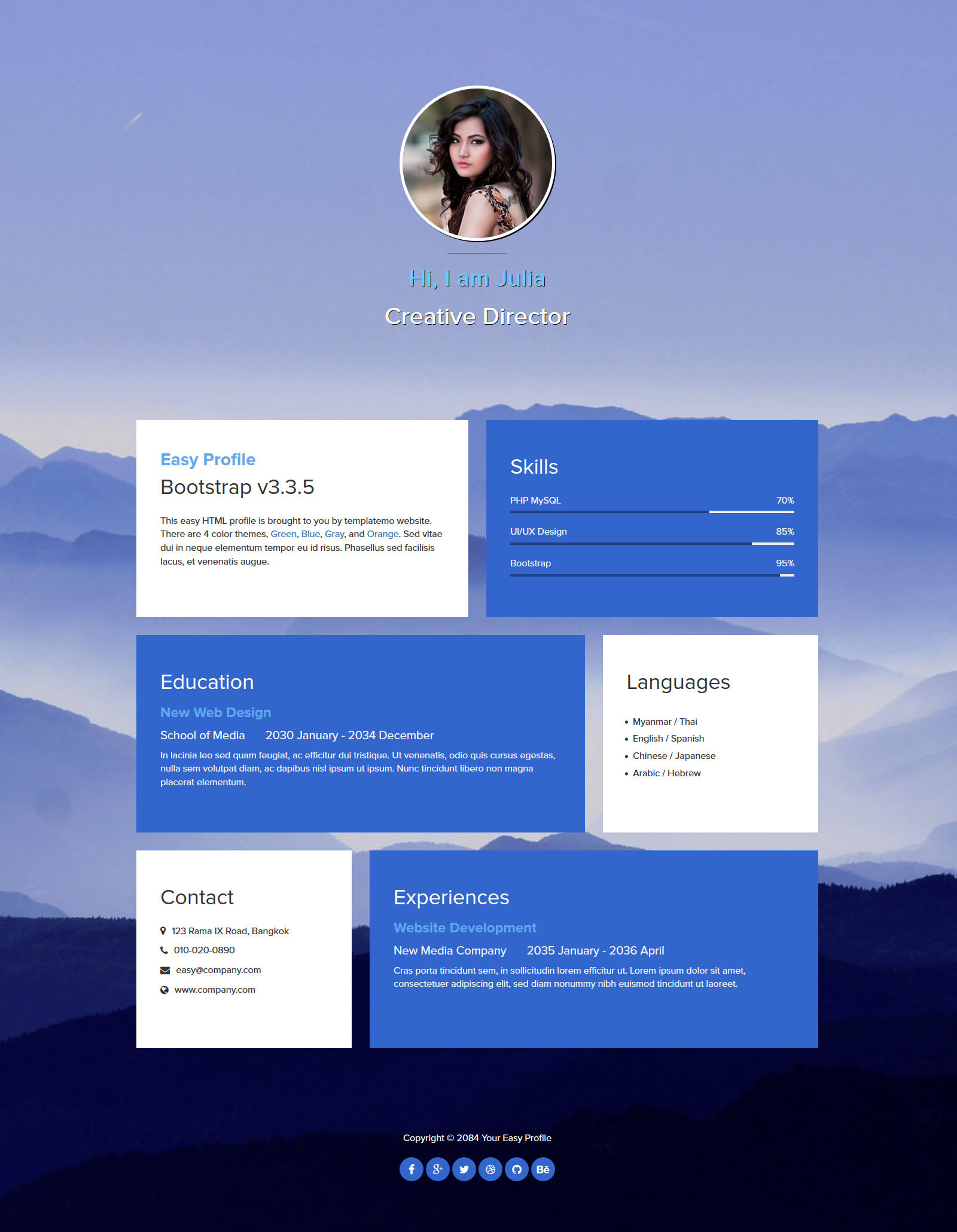 Free Template 467 Easy Profile