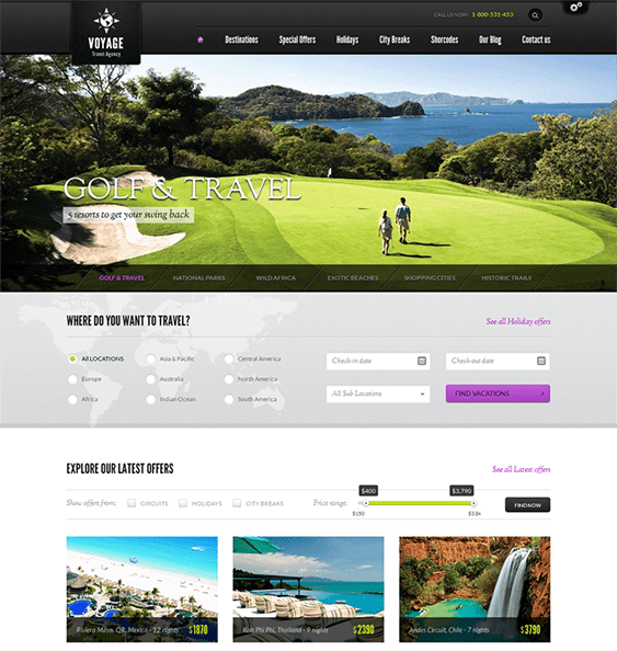 9 of the Best Travel WordPress Themes – <br />down