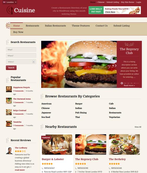 cuisine directory wordpress theme