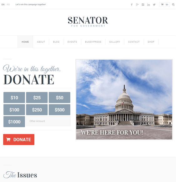 senator political wordpress theme
