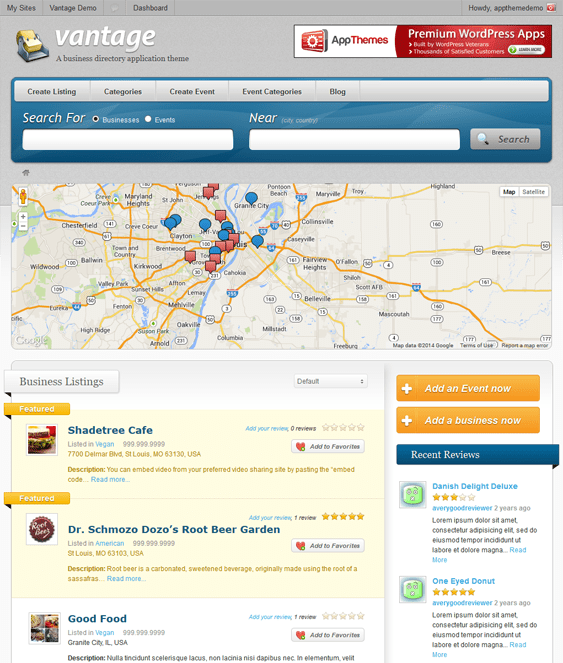 vantage map wordpress themes