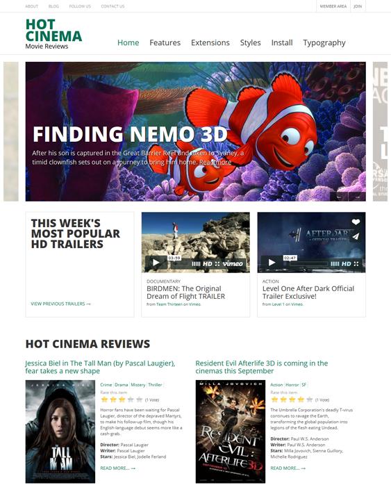 hot cinema joomla movie template