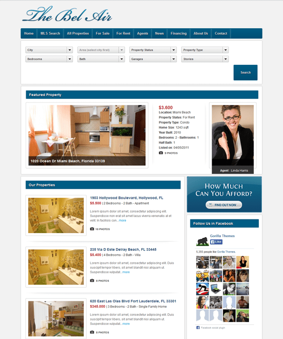 bel air real estate wordpress theme