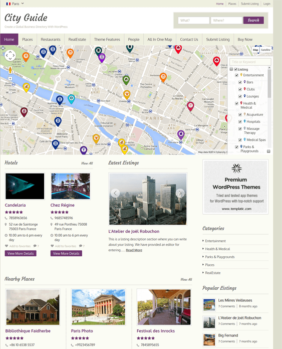 city guide map wordpress themes