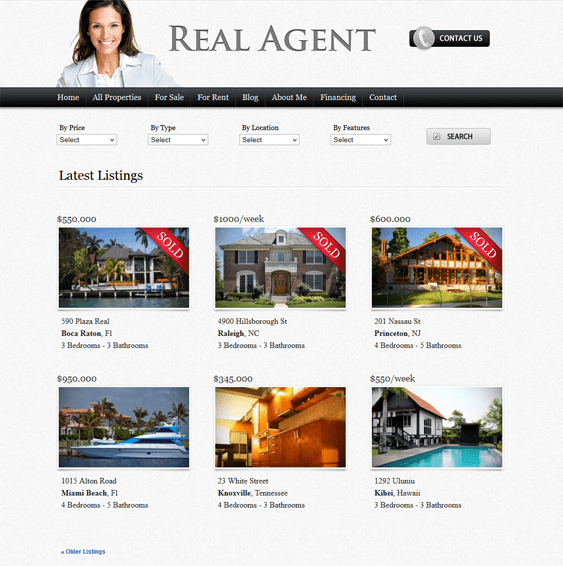 real agent real estate wordpress theme