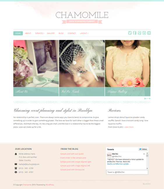 chamomile wedding wordpress theme