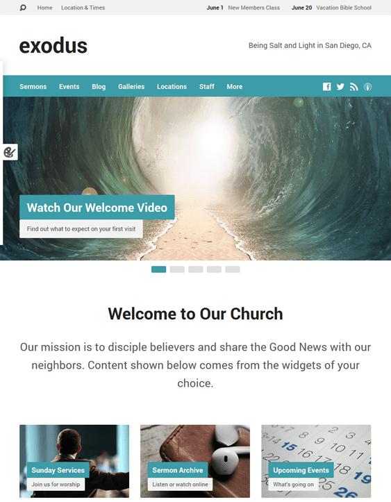 exodus church wordpress theme