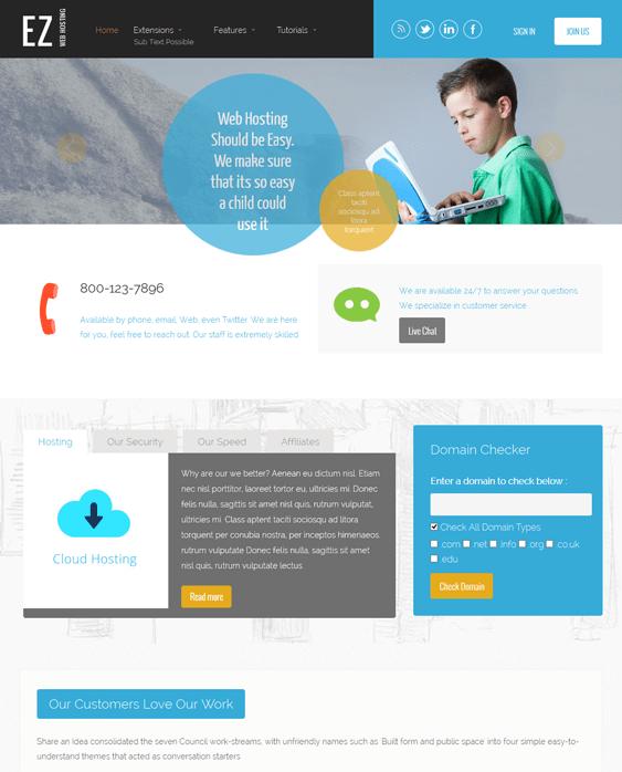 ez web hosting wordpress theme