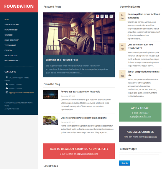 foundation education school wordpress theme